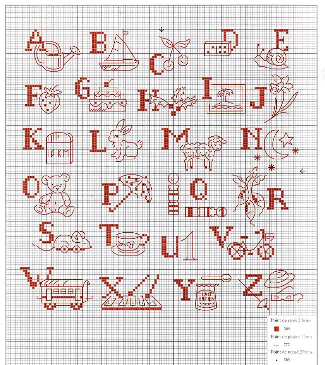 0 point de croix abécédaire monochrome pour enfants - cross stitch alphabet for kids