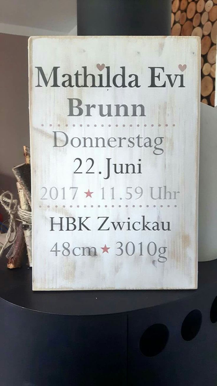 Geburtstafel Geburtsdaten auf Holz