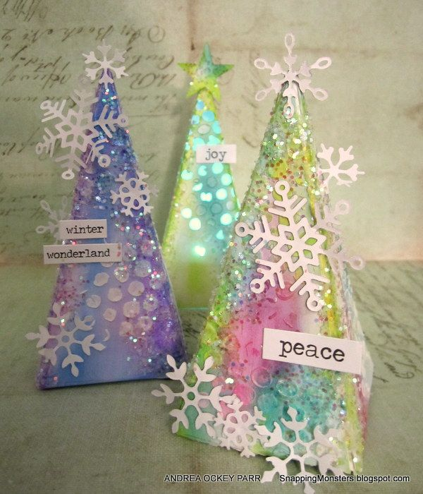 Snapping Monsters: Tutorials: Christmas Tree Treat Boxes and Luminaries Using Tim Holtz's Petal Drop Die