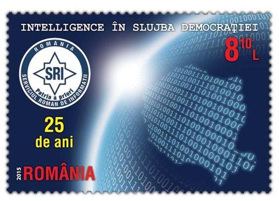 """A fost lansată Emisiunea filatelică  """"Intelligence în slujba democrației: 25 de ani, Serviciul Român de Informații"""", realizată de Romfilatelia."""