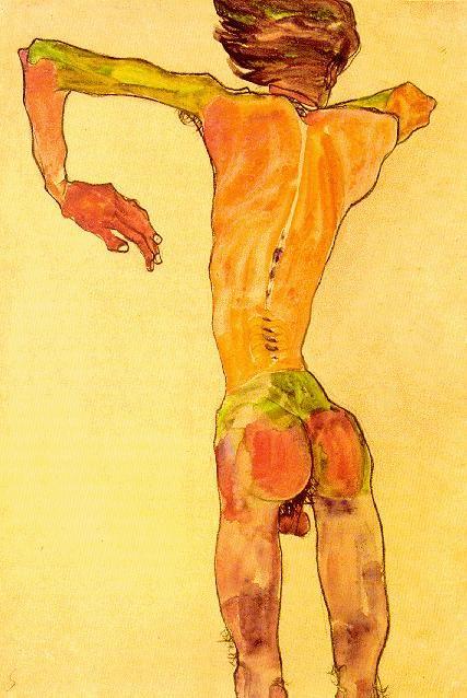 "petermcnierney: "" egon schiele, male nude, back view """