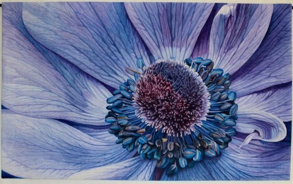 Blue Anemone by Andrea M Brokenshire art quilt at the Mid-Altantic Quilt Festival