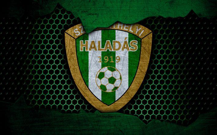 Download wallpapers Haladas, 4k, logo, NB I, Hungarian Liga, soccer, football club, Hungary, grunge, metal texture, Haladas FC