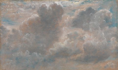 John Constable, 1776–1837, British, Cloud Study, 1822, Oil on paper laid on canvas, Yale Center for British Art, Paul Mellon Collection