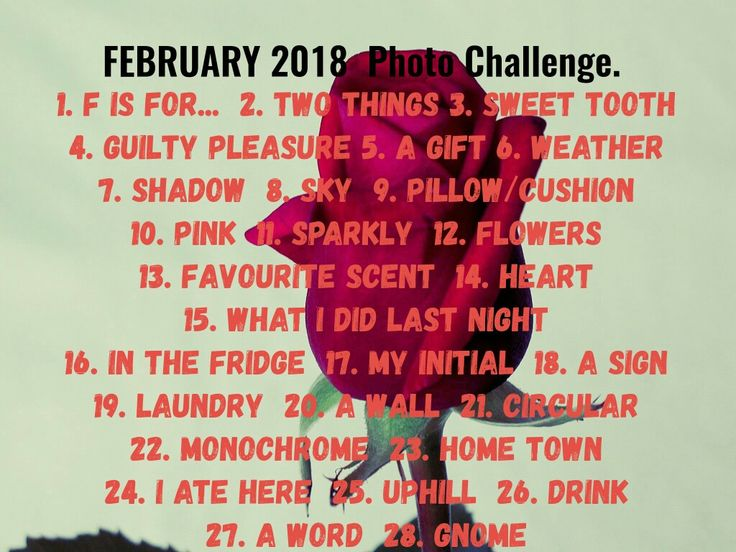 Photo Challenge List for February 2018