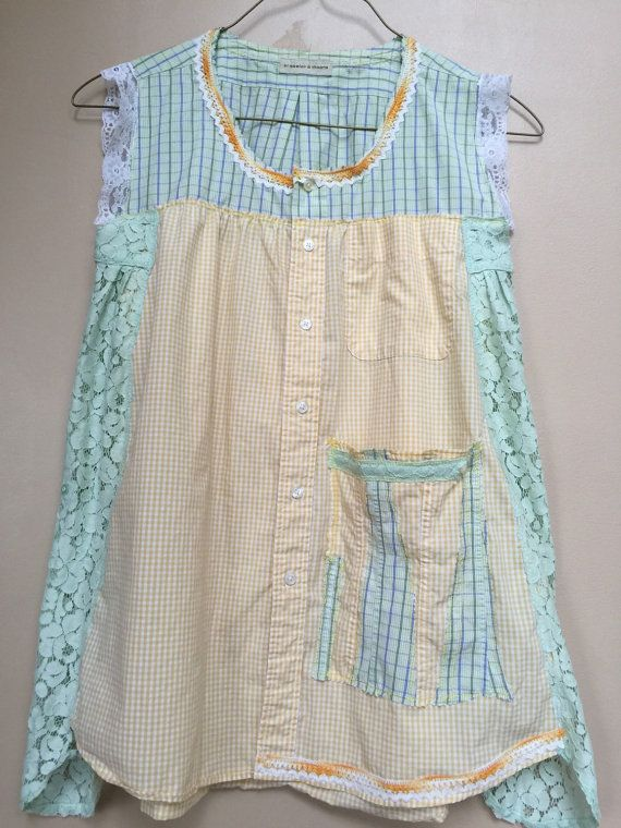 Upcycled clothing Lacy Little Blouse Yellow Gingham Check