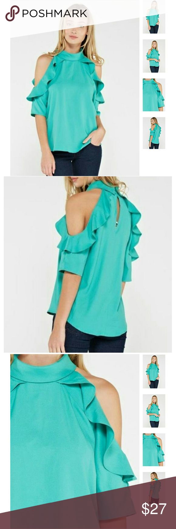 Green ruffled cold shoulder high neck blouse What do you do when you're feeling a little sassy? You put on this trendy teal cold shoulder ruffled top of course! Take on the day, and don't let anyone get in your way! This top shows you mean business and you're not afraid to go for what you want! Features, a key hole button back, high neckline and ruffled cold shoulders.r  100% Polyester Tops Blouses
