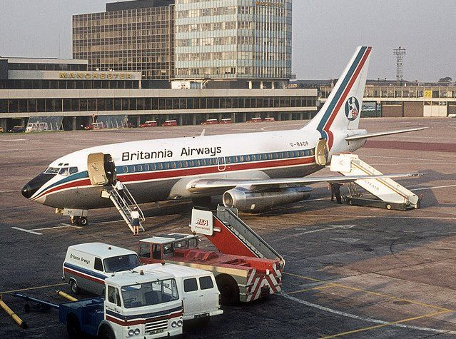 "Britannia Airways Boeing 737-204/Adv G-BADP ""Sir Arthur Whitten Brown"" on the apron at Manchester-Ringway, circa mid-1970s. (Photo: Courtesy of Rufinorey Acorda)"