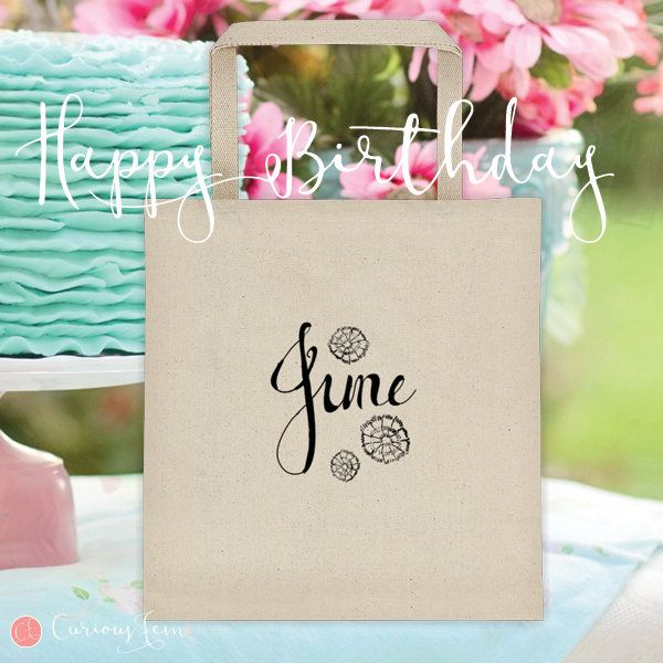 June Birthday Tote Bag – 100% Cotton – Printed Front and Back #fashion #june  #birthday #happybirthday #tote #totebag #printed #pencildrawing