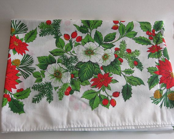 Christmas Holiday Tablecloth Vintage Pointsettia Holly Berry