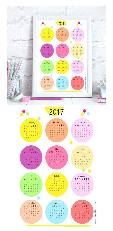 FREE printable 2017 bubbles calendar