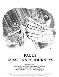 Paul's Missionary Journeys Sunday School Coloring Pages: Paul's missionary journeys have been vividly brought to life with these book of Acts Coloring pages. You kids are going to love unleashing their creativity with these custom illustrated coloring pages featuring Paul's missionary journeys.