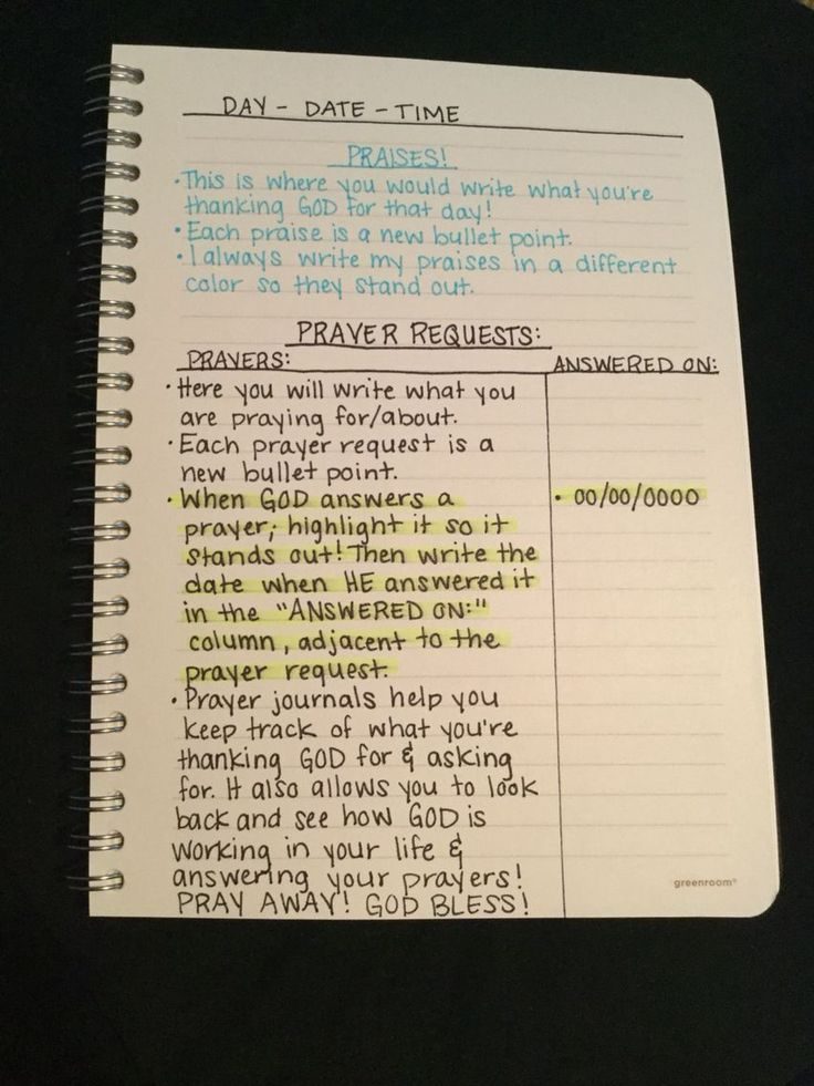 How I write in my prayer journal!  Prayer journals are great to keep a record of all that you have to be thankful for and all the prayers that God has answered. The key to a prayer journal is writing down all that you ask for and then being sure to go back when God has answered that prayer and writing that down! Use these journals in times of doubt and trial to remind you of how faithful and good God is!