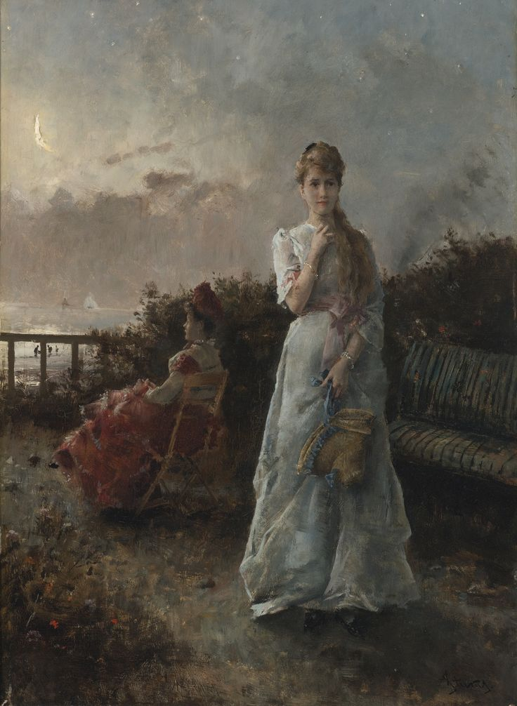 ALFRED STEVENS (BELGIAN, 1823 - 1906)  UN SOIR À LA MER  signed AStevens (lower right)  oil on panel, 64.7 x 45 cm
