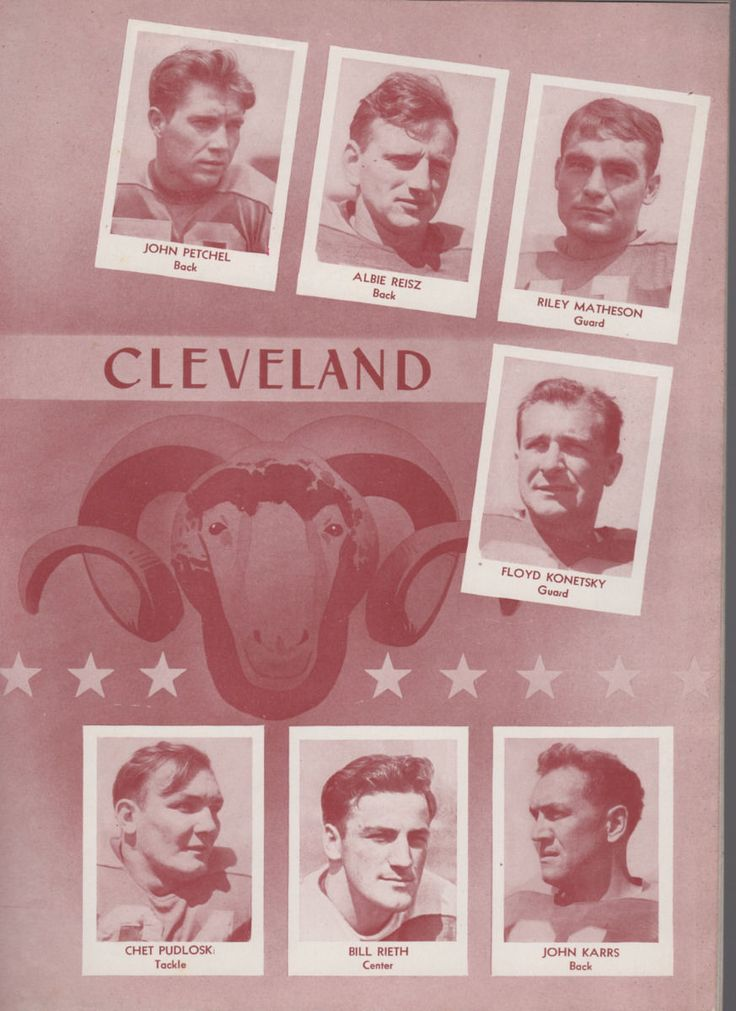 1944 Cleveland Rams roster from a 1944 game program against Card-Pitt.