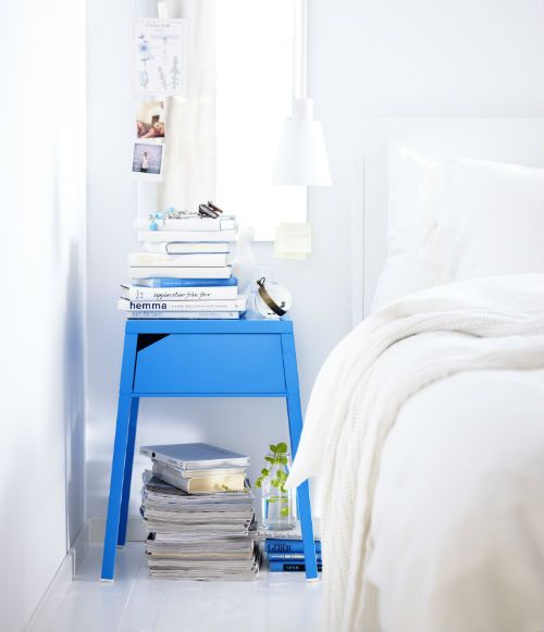IKEA Fan Favorite: SELJE nightstand. There's an opening in the back of SELJE bedside table for cables and room in the drawer for an extension socket. It's great for charging your mobile phone, laptop or tablet while you sleep.