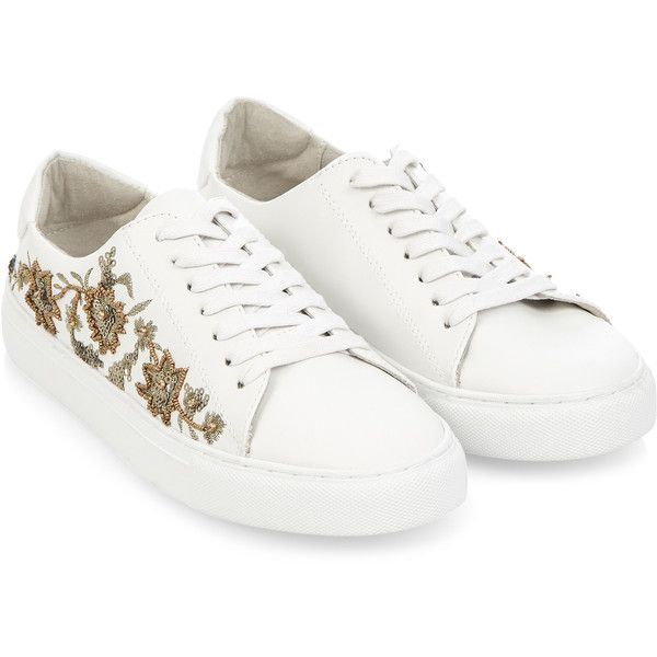 Monsoon Sandra Embroidered Lace Up Trainers (840 MAD) ❤ liked on Polyvore featuring shoes, sneakers, white trainers, sport sneakers, laced sneakers, white sports shoes and white sneakers