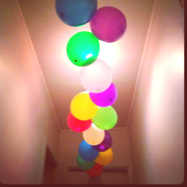 Our balloon garland down the hall for a morning birthday surprise for Ethan turning 8!