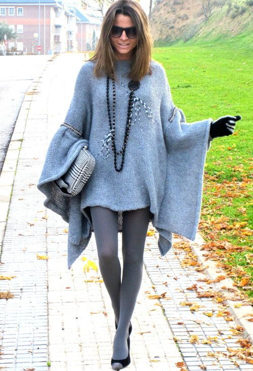 Great poncho in blue this time!