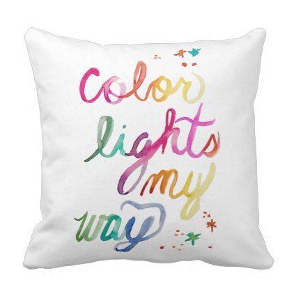 Watercolor Script Rainbow Art Throw Accent Pillow - college dorm gifts student students accessories freshmen