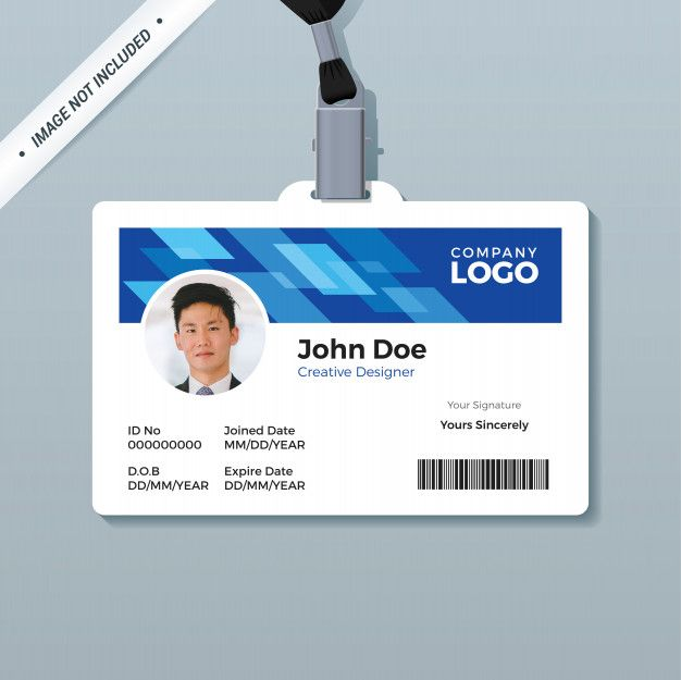 Blue Office Id Badge Design Template Premium Vector Id Card Template Employee Id Card Card Templates Free