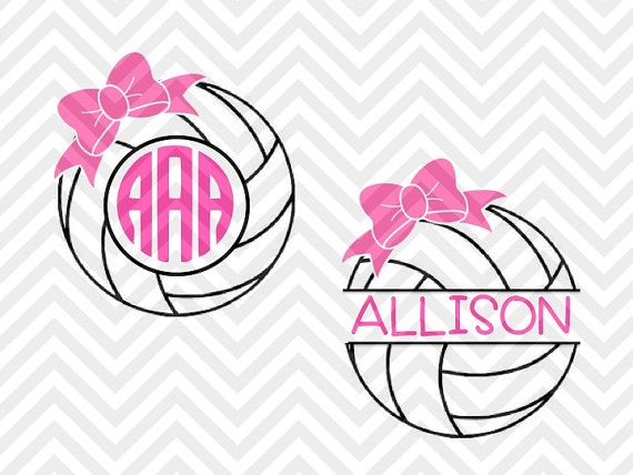 Volleyball Bow Monogram Frame SVG and DXF SVG file - Cut File - Cricut projects - cricut ideas - cricut explore - silhouette cameo projects - Silhouette projects SVG by KristinAmandaDesigns