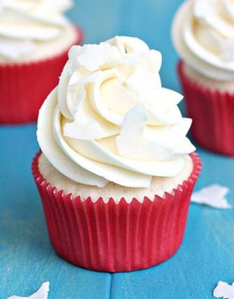Tracey's White Coconut Cupcakes with Coconut Swiss Meringue Buttercream