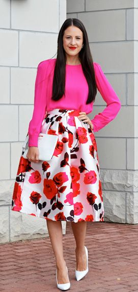 Glam Rose Print A-line Midi Skirt http://rstyle.me/n/pkrcgr9te