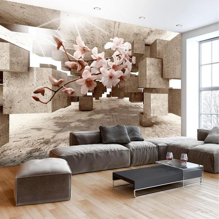 3D Wall mural Little Miracles, 3d wallpaper flowers and perspective design. Removable mural, wallpap