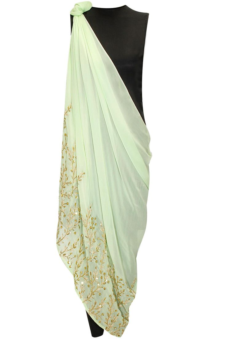 Mint green embroidered drape dress with black inner by Prathyusha Garimella. Shop at: http://www.perniaspopupshop.com/designers/prathyusha-garimella #dress #prathyushagarimella #shopnow #perniaspopupshop
