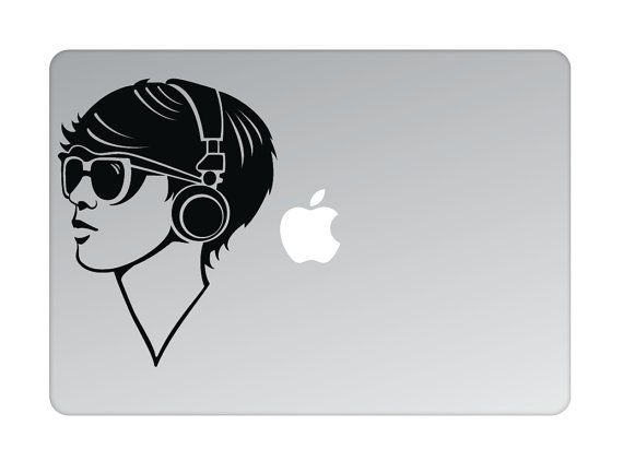 Girl with headphones Decal, Trance Music Custom Wall Sticker, macbook pro 13 sticker apple macbook decal skin decor