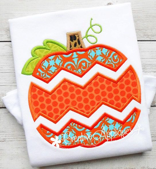 Chevron Pumpkin Digital Machine Embroidery by Creativeapplique