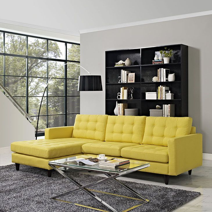 Sofa Sleeper Empress Button Back Left Facing Upholstered Sectional Sofa in Sunny