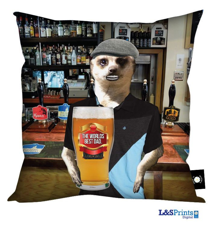 DAD MEERKAT IN PUB PINT OF BEER HAPPY FATHERS DAY DESIGN CUSHION GREAT GIFT IDEA in Home, Furniture & DIY, Celebrations & Occasions, Other Celebrations & Occasions | eBay
