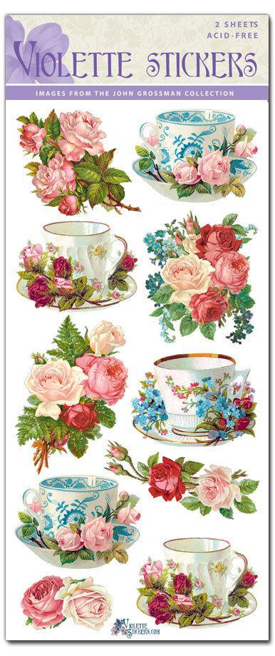 Teacups and Rose Stickers for Crafting-2 sheets by tcastle1