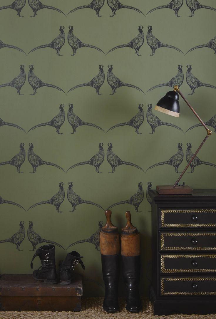 Pheasant wallpaper design by Barneby Gates.