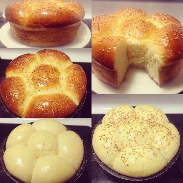 Laissez à nouveau pousser la pâte pendant 40mn (sans couvrir), puis sortez la brioche et laissez-la à température ambiante le temps de préchauffer le four.