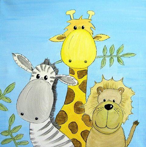 Bild Safari, Löwe, Giraffe, Zebra, by amana, Safari in Afrika, ein TIerbild mit verschiedenen Tieren! Acrylbild, eine schöne Dekoration für die ...