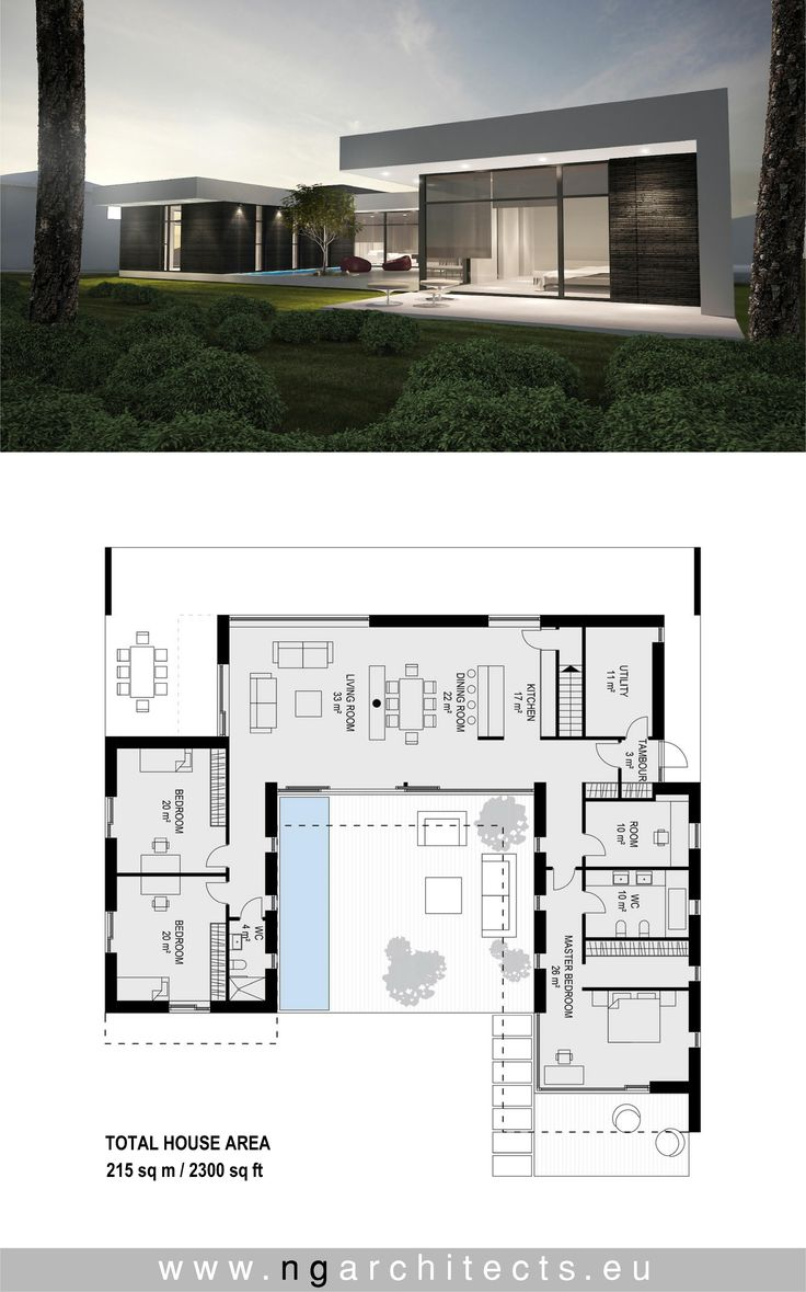 320 best modern house plans images on pinterest modern for Plan villa moderne