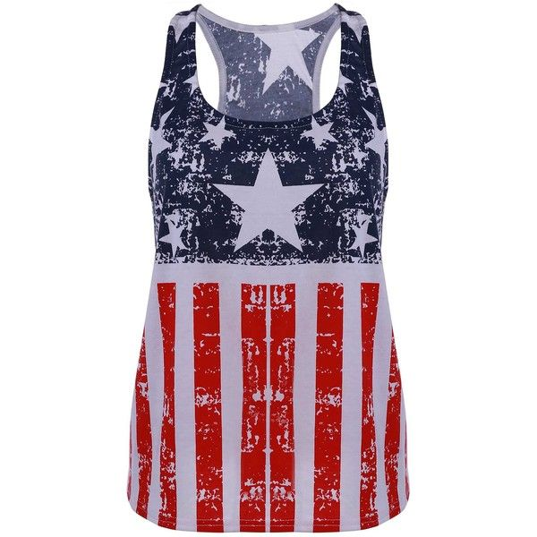Scoop Neck American Flag Print Tank Top (125 ZAR) ❤ liked on Polyvore featuring tops, shirts, pattern shirt, american flag tank, american flag tank top, print shirts and pattern tops