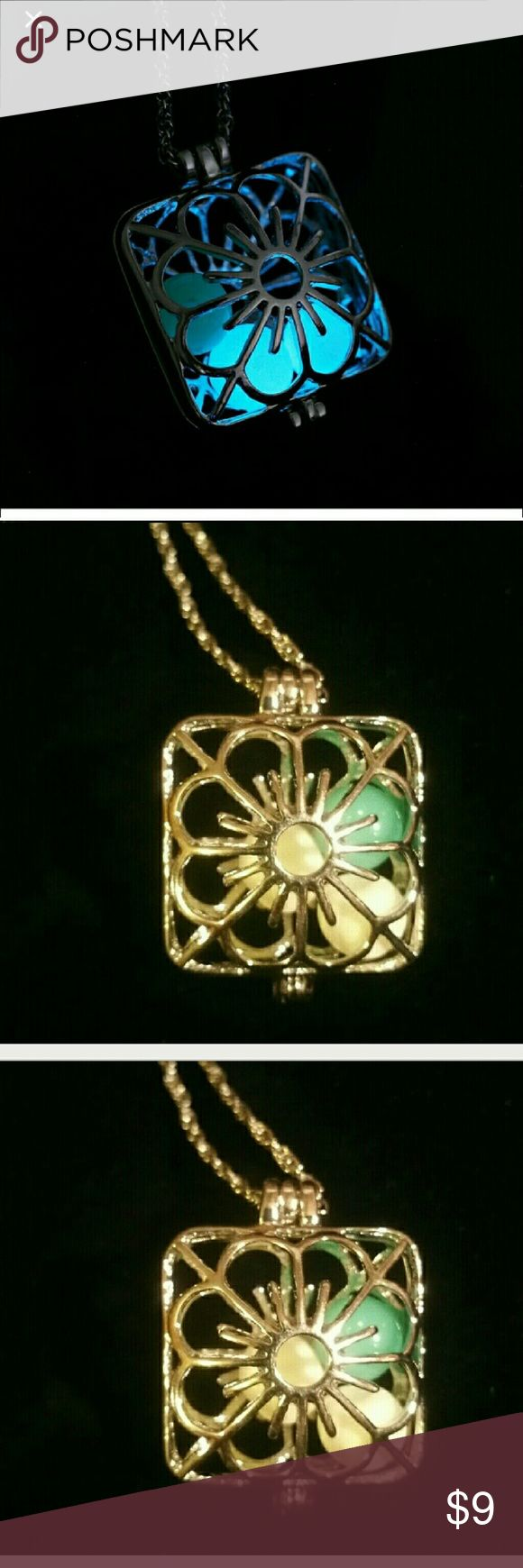 """Festival locket style glow necklace! Cute floral Light up effortlessly at night by sun by day! Festival locket floral glow, can be used with terra oils also! Cute. 12""""silver tone Jewelry Necklaces"""