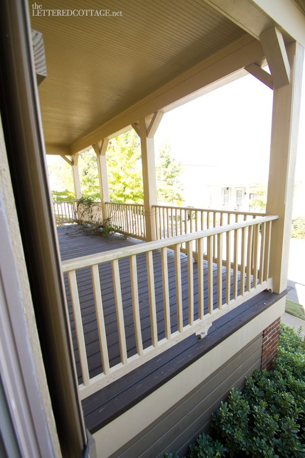 @Katie Front porch railing with shaped supports and square pillars