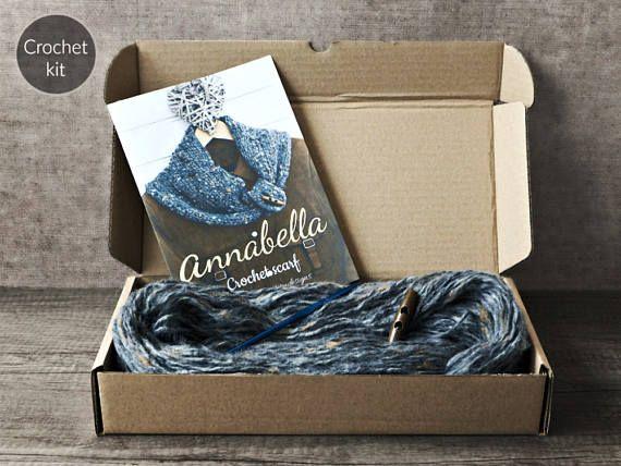 CROCHET KIT  Annabella crochet scarf beginner crochet scarf