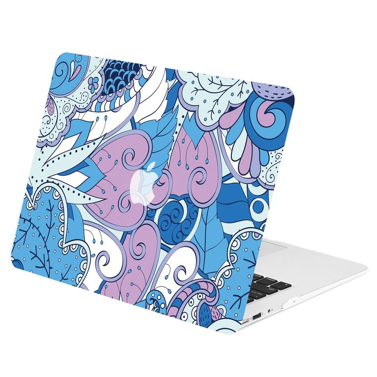 """TOP CASE - Vector Pattern Rubberized Hard Case Cover for MacBook Air 13"""" - Peacock Mix Blue"""