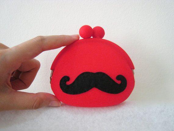Handmade Super Cute Mustache Bright Red Coin Pouch Coin Purse. Color Choice. Cute Gift