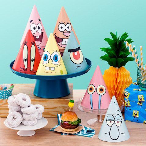 Sombreros de fiesta Bob Esponja para imprimir gratis