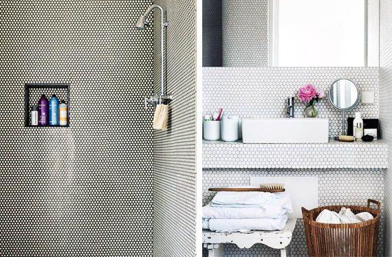 Viste tu baño con pequeños azulejos de mosaico hexagonal - http://www.decoora.com/viste-tu-bano-con-pequenos-azulejos-de-mosaico-hexagonal.html
