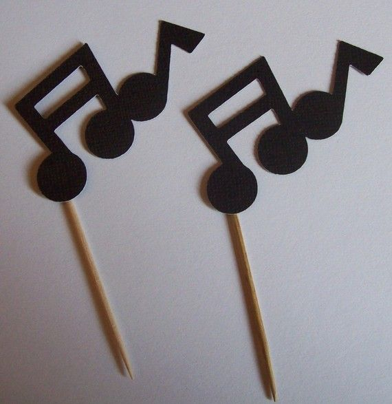 Musical Note Cupcake Toppers by TwoCraftyCreations on Etsy, $5.00