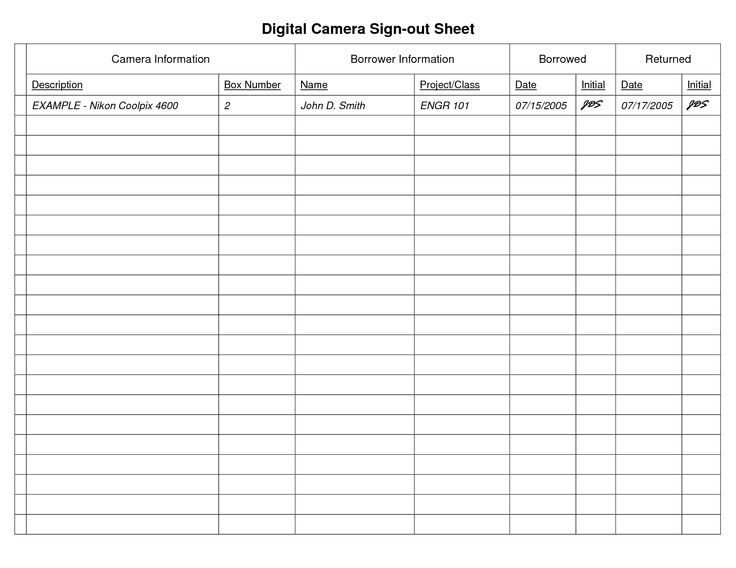 Sign Out Sheet For Camera Equipment  Google Search  Photography