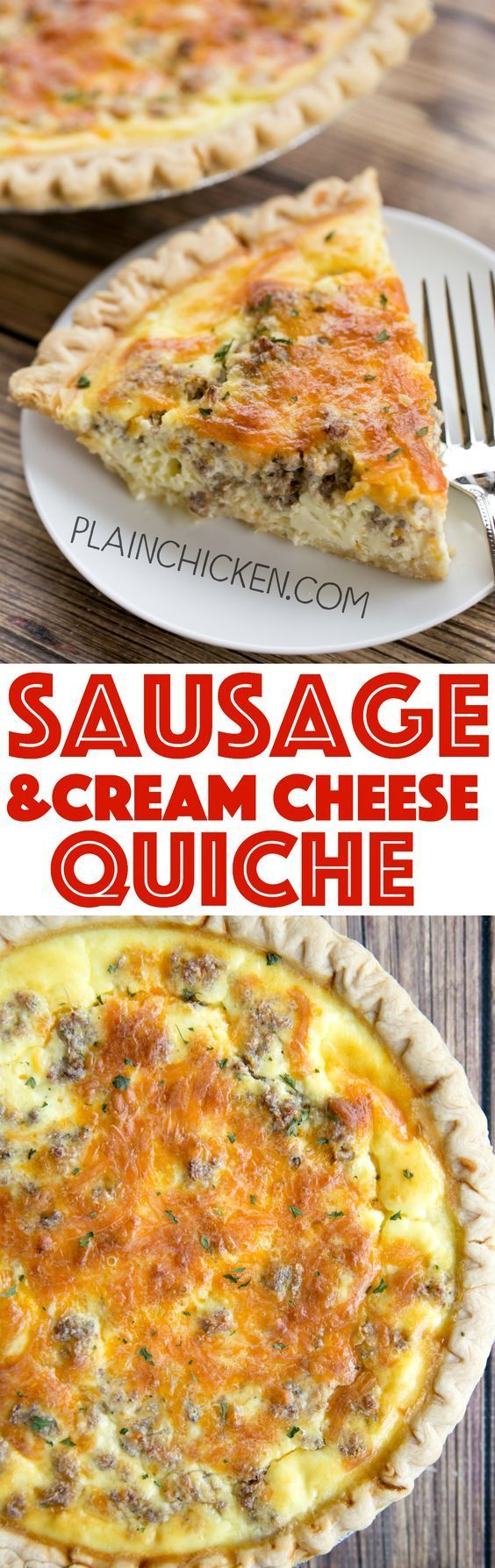 Sausage and Cream Cheese Quiche - so quick and easy. Everyone LOVED this recipe!! Can make ahead and freeze for later. Pie crust, sausage, cream cheese, cheddar cheese, heavy cream, eggs, sour cream and pepper. Ready to eat in an hour. Great for breakfast, lunch or dinner. THE BEST!